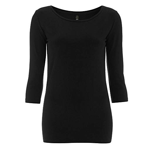 EarthPositive - Women's Organic 3/4 Sleeve Stretch T-Shirt / Black, XL