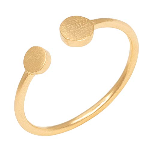Pernille Corydon Damen Mini Coin Ring Gold - Damenring 2 mit runden Plättchen Matte Oberfläche Silber vergoldet - Größe 55 - R006g-55