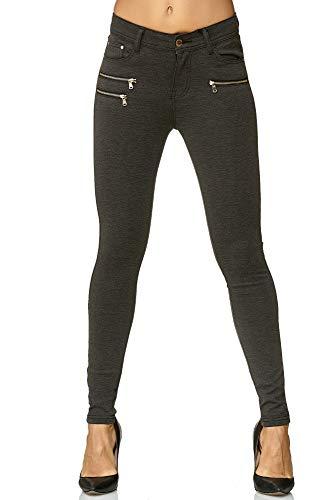 Elara Damen Stretch Hose Skinny Fit Jegging Chunkyrayan H86-6 Dk.Grey 42 (XL)