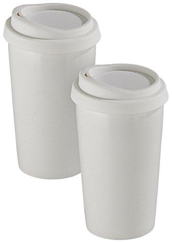 Rosenstein & Söhne Kaffeebecher: 2 Coffee-to-go-Becher aus Keramik, Silikondeckel, 250 ml,...