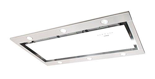 Deckenhaube Nodor 100cm/Deckenlüfter Weißglas Edelstahl Design/1000m³/h Saugstarker und Leiser SilenTech Motor/Dunstabzugshaube mit LED Beleuchtung und Touch Control Steuerung