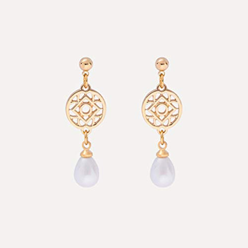 925 Silberne Nadel Geometrische Perlenohrringe Vintage-Muster Kreis Legierung Ohrringe Temperament Koreanische Ohrringe
