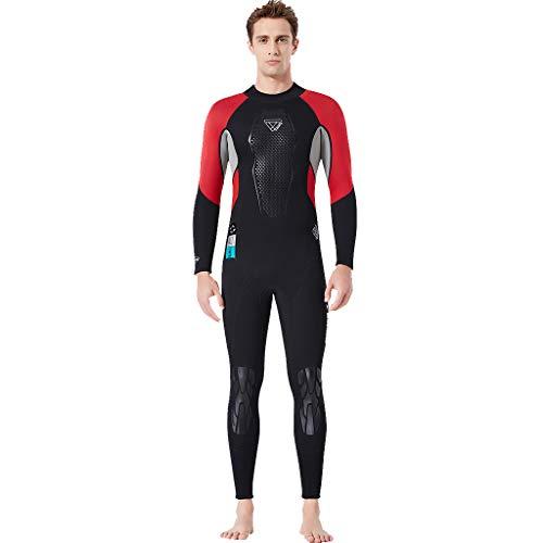 MOTOCO Herren Tauchanzug Schnorchelanzug Kurzarm mit Sonnenschutz Einteiler Badeanzug Wetsuit Surfanzug mit Rückenreißverschluss(S,Rot)