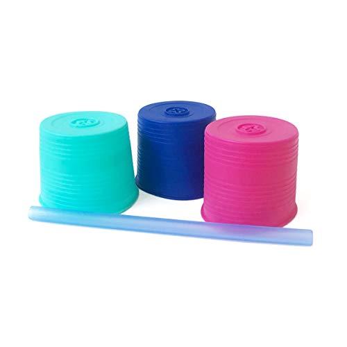 GoSili Silikids UVST301 Silikids - silicone straw tops (3pk) + 1 straw - aqua pink blue, mehrfarbig Silicon Top