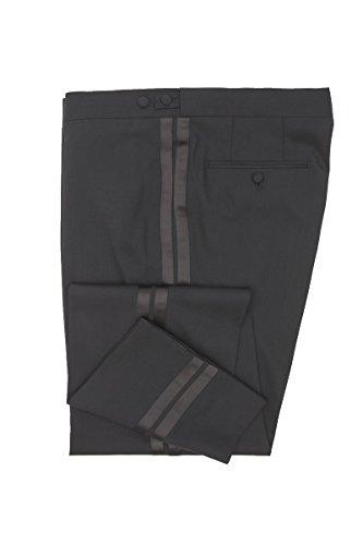 Masterhand Classic Frackhose Schwarz Comfort Fit normaler Schnitt 100% Schurwolle Hose Cort 26