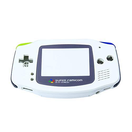Super Famicom Gehäuse/Gehäuse für Nintendo Gameboy Advance GBA Konsole, inkl. Displayschutzfolie, Knöpfe und Schrauben, Ersatzteil-Zubehör, Weiß