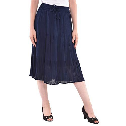 COTTON BREEZE Women's Viscose A-Line Skirt (FP558 _Blue_ Free Size)