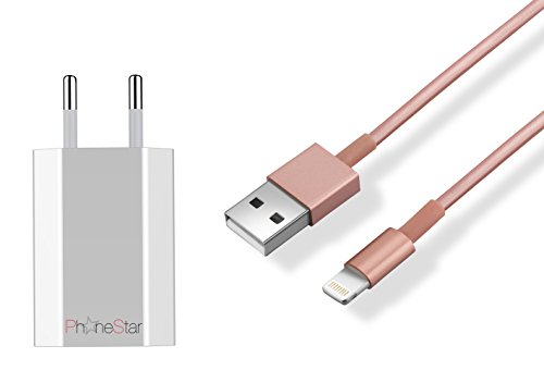 Preisvergleich Produktbild PhoneStar 2in1 iOS 9 Lightning zu USB Datenkabel Ladekabel Synchronisationskabel 1 Meter inklusive 1.000mA Netzteil passend für iPhone 6s Plus,  iPhone 6s,  iPhone 6 Plus,  iPhone 6 iPhone 5s,  5c,  5,  iPad Air 2,  iPad Air,  iPad Mini 1 bis 3,  iPad 4 in rosé gold
