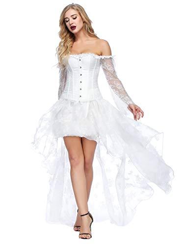 FeelinGirl Damen Korsagekleid Steampunk Gothic Kostüm Magic Mistress Hexenkostüm Teufelchen Halloween Cosplay Priatbraut (Kostüm Mit Kleid Weiss)