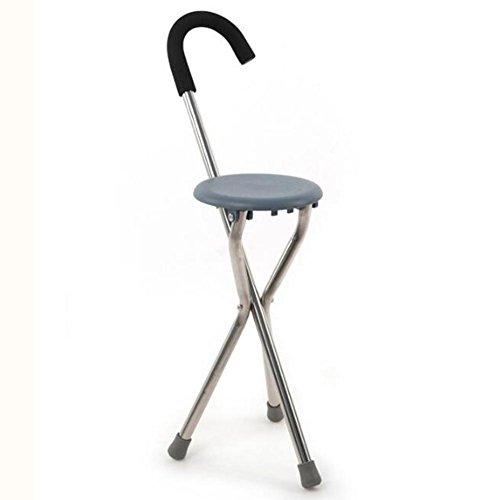 Älterer Faltender Crutch Hocker Walking Stuhl Sitz 3 Fuß Edelstahl