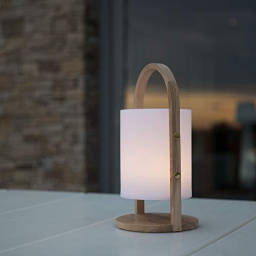 Lumisky linterna luz blanca de jardín con asa de madera inalámbrico sobre batería Woody LED de 39cm, polietileno rotomoulé, 18x 18x H39