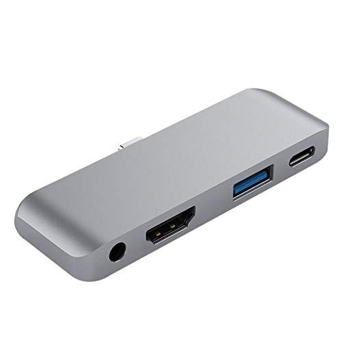 Preisvergleich Produktbild iBaste-USB-Hubs Aluminium Typ C Mobile Pro Hub Adapter mit USB-C PD Lade 4K HDMI USB 3.0 3, 5 mm Kopfhöreranschluss für das iPad Pro 2018