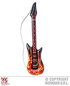 Aufblasbare Rockstar Gitarre mit Flammen - Adult Kostüm Zubehör