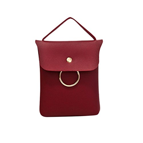 BZLine® Frauen Leder Handtasche Cross Body Shoulder Messenger Handytasche Rot