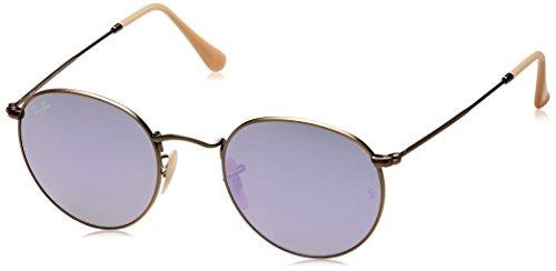 Ray-Ban Unisex Rund Sonnenbrille Rb3447, Mehrfarbig (Gestell: bronze/kupfer, Gläser: flieder verspiegelt 167/4K), Gr. Medium (Herstellergröße: 50)