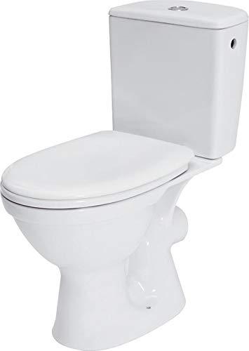 Keramik Stand- WC Toilette Komplett -Design- Set mit Spülkasten WC- Sitz aus Polypropylen mit Absenkautomatik SoftClose-Funktion für waagerechten Abgang Wasseranschluss Merida