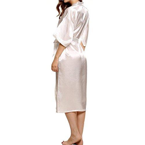 Dolamen Kimono Robe Femmes, Femmes Chemises de nuit, Robe peignoir en satin de soie Robe de nuit de demoiselle d'honneur pyjamas, Longue style Blanc