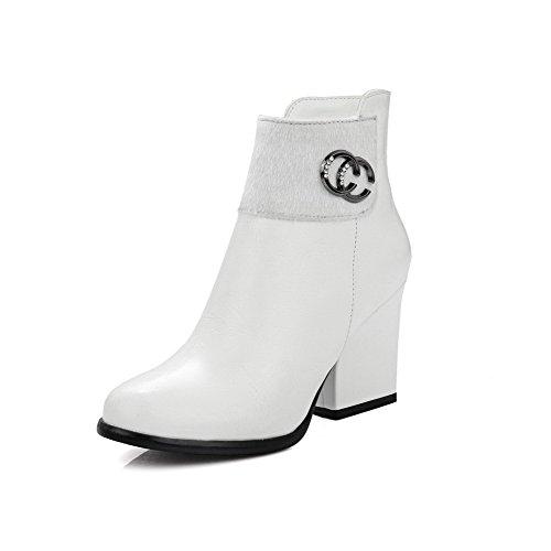 Odomolor Damen Weiches Material Reißverschluss Rund Zehe Hoher Absatz Niedrig-Spitze Stiefel Weiß