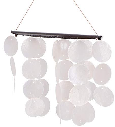 Guru-Shop Langes Muschel Windspiel, Klangspiel - Weiß, 30x20 cm, Windspiele & Klangspiele