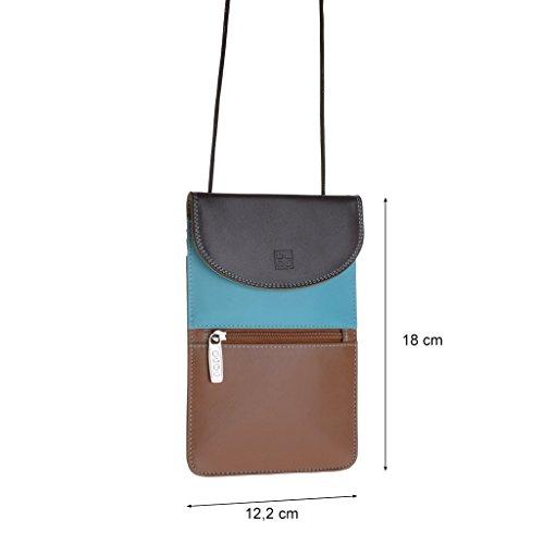 DuDu Sac porté épaule en cuir - Colorful Collection - Barbara - Marron foncé