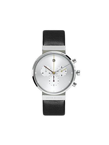 Jacob Jensen Herren Chronograph Quarz Uhr mit Leder Armband 606