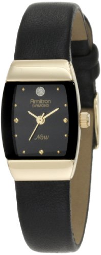 armitron-mujer-753594bkbk-now-diamond-accented-gold-tone-black-leather-dress-reloj