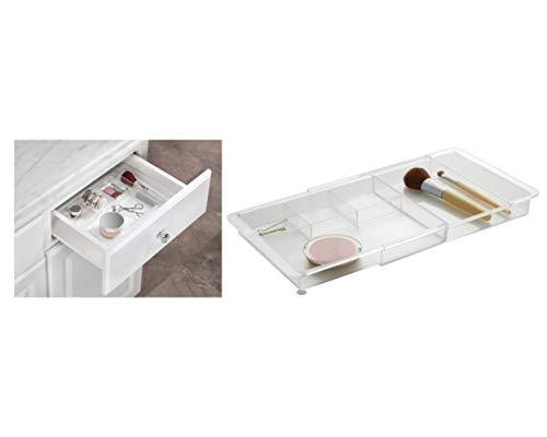 iDesign Porta trucchi regolabile, Divisorio cassetti allungabile in plastica, Make up organizer ideale per il bagno, trasparente