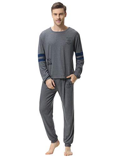Mens Pyjama Set Long Sleeve Top /& Pants Cotton Pjs
