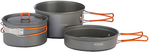 Vango Koch Set Hard Anodised Adventure Cook Kit Large Pot, Small Pot with Lid,  Frying Pan and Storage Bag, Grey, ACXCOOK HRATAW