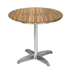 ILINEO - Table Ronde Extérieur Terrasse Jardin en Aluminium et Bois Teck - Diamètre 70 cm
