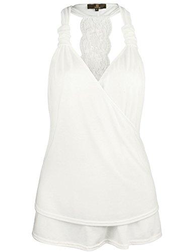 ISASSY Damen Slim Top, Geblümt Schwarz schwarz Medium Weiß