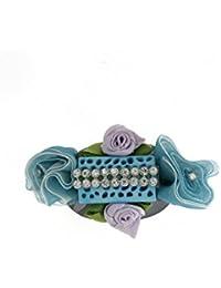 Anuradha Art Sky-Blue Colour Stylish Brooch & Sari Pin For Women/Girls