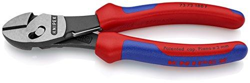 Knipex 73 72 180 F TwinForce Hochleistungs-Seitenschneider mit Öffnungsfeder schwarz atramentiert mit Mehrkomponenten-Hüllen 180 mm