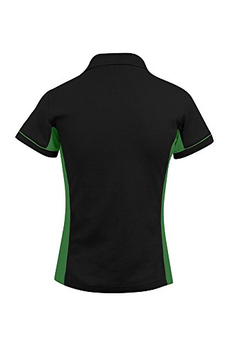 Polo contrasté femme noir / vert kelly