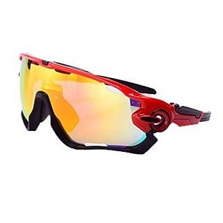 SonMo Nachtsichtbrille Schutzbrille Motorradbrille Sportbrille Snowboardbrille Skibrille Radbrille TPU+PC Rot Blendschutz mit UV Schutz Sportbrille Radfahren Winddicht