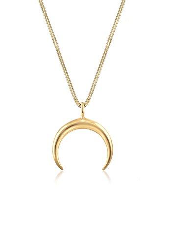 Elli Damen Schmuck Echtschmuck Halskette Kette Anhänger Astro Halbmond Moon Trend Sterling Silber 925 Vergoldet Länge 45 cm