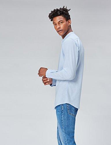 FIND Hemd Herren Slim Fit mit Stehkragen Blau (Blue)