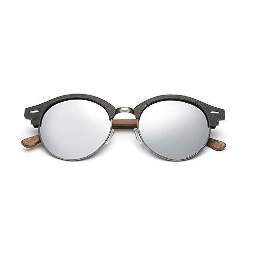 WULE-Sunglasses Unisex Mode Imitation Holzmaserung Cat Eye Sonnenbrille Plain Brille Round Frame Polarisierte Sonnenbrille (Color : 02 Silber, Size : Kostenlos)