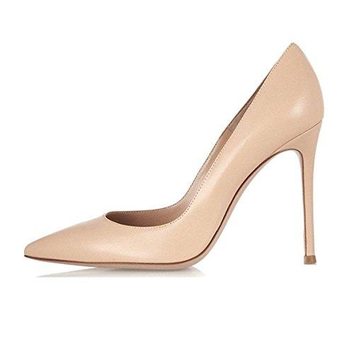 EDEFS Escarpins Femme - Sexy High Heel Shoe - Stiletto Beige Escarpin - Chaussures Talons Aiguilles 10 cm - Taille 43