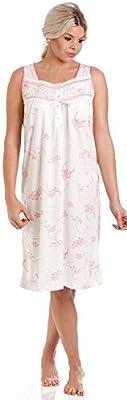 Lady Olga - Camisón de algodón para mujer, diseño floral sin mangas, ropa de noche 0103