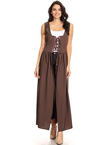 Mädchen Bier Kostüm Irisches - Anna-Kaci Damen Renaissance Mittelalter Kostüm Verstellbar Träger Taille Irische Außer Kleid