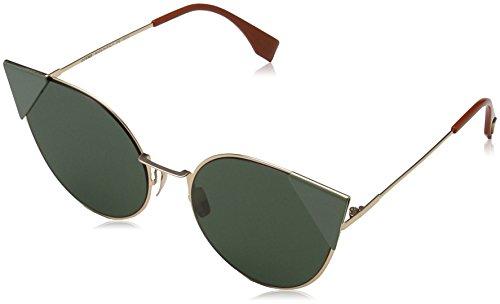 Fendi ff 0190/s o7 ddb, occhiali da sole donna, oro (gold copper/green ltgreenaf), 57