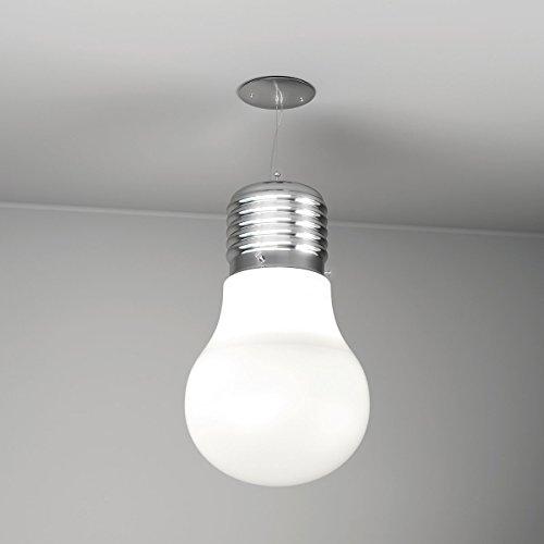 Lampadario a sospensione LAMPA a forma di lampadina Vetro Bianco e Filo di Alluminio ideale per camerette