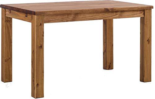 Rustikale Holz-möbel-betten (Brasilmöbel Esstisch Rio Classico 120x80 cm Brasil Holz Tisch Pinie Massivholz Esszimmertisch Küchentisch Echtholz Größe und Farbe wählbar ausziehbar vorgerichtet für Ansteckplatten)