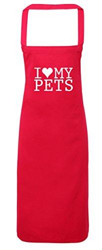 hippowarehouse I Love My Pets Schürze Küche Kochen Malerei DIY Einheitsgröße Erwachsene, fuchsia pink, Einheitsgröße