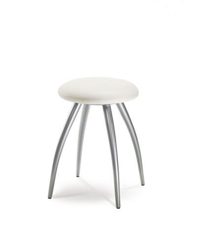 Mayer Sitzmöbel Designhocker 1163 Gestell perlsilber Sitz rund gepolstert Bezug Stoff oder Kunstleder Bezug Kunstleder 26464