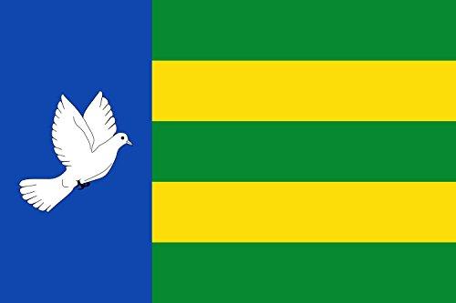 magFlags Bandera Large Rectangular de proporciones 2 3, formada por dos franjas verticales en proporciones 1/3 y 2/3, siendo azul con una paloma blanca la del asta y cinco franjas horizontales iguales
