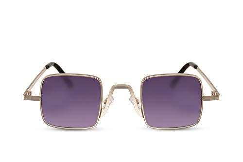 Cheapass Sonnenbrille Rechteckig Gold Violett Würfel UV-400 Getönt Metall Damen