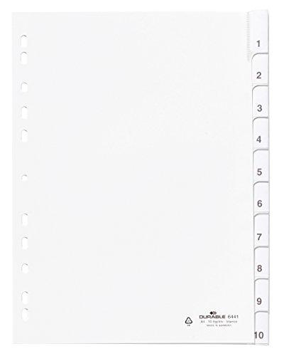 DURABLE Kunststoff-Register, A4, PP, 10-teilig, weiß, Sie erhalten 1 Produkt mit 10 Teilen