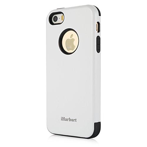 iPhone 5S SE Hülle - iHarbort® beschützend Apple iPhone 5 5S SE Hülle Tasche Case Cover Schutzhülle Kombinationsabdeckung Combo (weiche TPU Zwischenlage + Hartplastikschale), schwarz Weiß